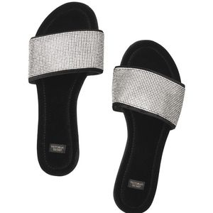 Victoria Secret Embellished Velvet Sliders